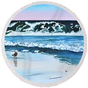Seagull In The Sand Round Beach Towel