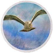 Seagull In The Storm Round Beach Towel