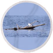 Seagull On Driftwood Round Beach Towel