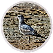 Seagull On The Beach Round Beach Towel