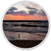Seagull With Sunset Round Beach Towel