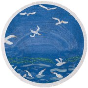Seagulls Round Beach Towel by Melissa Dawn
