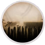 Seagulls Of Old Pilings Portland Maine Round Beach Towel