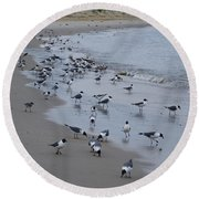 Seagulls On The Delaware Bay Round Beach Towel by Bill Cannon