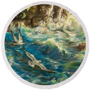 Seagulls Over The Rough Sea Round Beach Towel