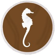 Seahorse In Brown And White Round Beach Towel