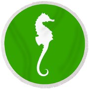 Seahorse In Green And White Round Beach Towel