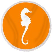 Seahorse In Orange And White Round Beach Towel