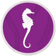 Seahorse In Purple And White Round Beach Towel