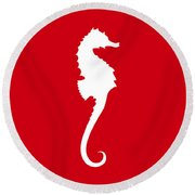 Seahorse In Red And White Round Beach Towel