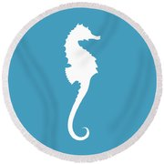 Seahorse In White And Turquoise Blue Round Beach Towel