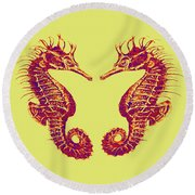 Seahorses In Love Round Beach Towel
