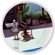 Seal And Trainer Round Beach Towel