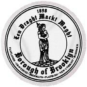 Seal Of Brooklyn Round Beach Towel