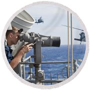 Seaman Apprentice Stands Watch Aboard Round Beach Towel