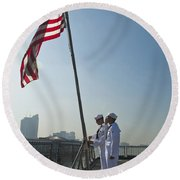 Seamen Participate In Morning Colors Round Beach Towel