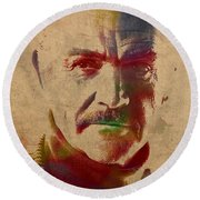Sean Connery Actor Watercolor Portrait On Worn Distressed Canvas Round Beach Towel