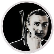 Sean Connery James Bond Vertical Round Beach Towel
