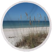 Seaoats And Beach Round Beach Towel