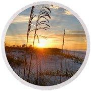 Seaoats Sunrise Round Beach Towel