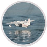 Seaplane Liftoff Round Beach Towel