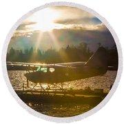 Seaplane Sunset Round Beach Towel