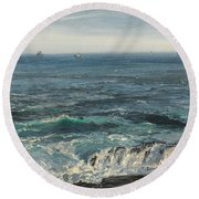 Seascape 1877 Round Beach Towel by Henry Moore