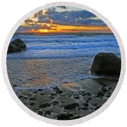 Seascape At Marthas Vineyard Round Beach Towel