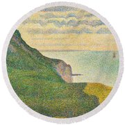 Seascape At Port En Bessin Normandy Round Beach Towel by Georges Seurat