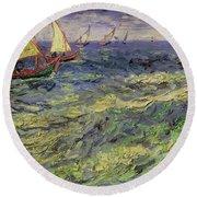 Seascape At Saintes-maries 1888 Round Beach Towel
