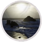 Seascape Oregon Coast 4 Round Beach Towel