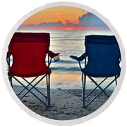Seascape Serenity Round Beach Towel