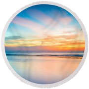 Seascape Sunset Round Beach Towel by Adrian Evans