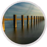 Seascape Wales Round Beach Towel by Adrian Evans