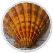 Seashell And Words Round Beach Towel