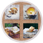 Seashell Collection I Round Beach Towel