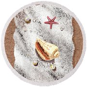 Seashell Pearls And Water Drops Collection Round Beach Towel