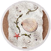Seashell With Pearls Sea Star And Seaweed  Round Beach Towel