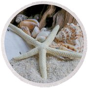 Seashells And Driftwood 2 Round Beach Towel