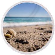 Seashells At The Shore Round Beach Towel