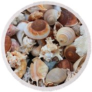 Seashells - Vertical Round Beach Towel