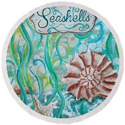 Seashells II Round Beach Towel