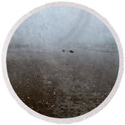 Seashells On Foggy Beach Round Beach Towel