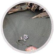 Seashells On The Seashore II Round Beach Towel