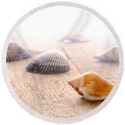 Seashells On Wood Dock Round Beach Towel