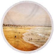 Seashore At Manhattan Beach Round Beach Towel