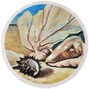 Seashore Shell Still Life Round Beach Towel