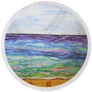 Sunny Seashore  Round Beach Towel