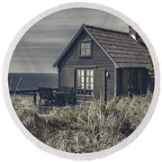Seaside Cottage At Dusk Round Beach Towel
