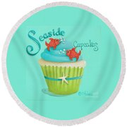 Seaside Cupcakes Round Beach Towel